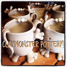 Claymonster Pottery - Baltimore, MD  One of a kind whimsical monster vessels and stoneware pottery with personality.