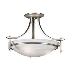 Brushed Chrome Bowl Semi-Flush Mount : 6YUZP | Norburn Lighting & Bath