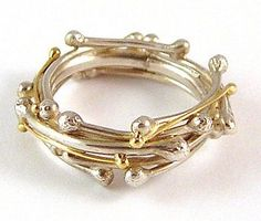 A stunning ring in Silver and 18ct Gold which really encapsulates the form of twigs and berries that are inter-twined to form a gorgeous  garland. So original. $327.00  FREE international shipping :-)  #rings #gold #silver  luxuria-jewellery.com