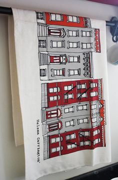 Brooklyn Townhouses New York Screen Printed by helenacarrington, £10.00
