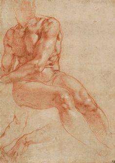 Микеланджело Буонарроти - Рисунок сидящей мужской обнажённой фигуры и кисти рук