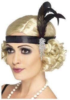 Smiffy s Women s Satin Charleston Headband with Feather and Jewel Detail   Includes silver satin headband with black feather and jewel One size  Exclusive ... aa4953fec1bfa