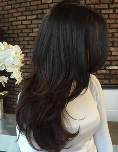 Brunette+Layered+Hairstyle+For+Long+Hair hair care 80 Cute Layered Hairstyles and Cuts for Long Hair Long Layered Haircuts, Layered Hairstyles, Black Hairstyles, Straight Hairstyles, Hairstyles 2018, Latest Hairstyles, Long Brunette Hairstyles, Boho Hairstyles, Brunette Haircut