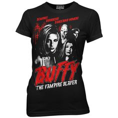 Ripple Junction Black 'Buffy the Vampire Slayer' Tee (£11) ❤ liked on Polyvore featuring tops, t-shirts, ripple junction, graphic design t shirts, graphic design tees, graphic print t shirts and graphic print tees