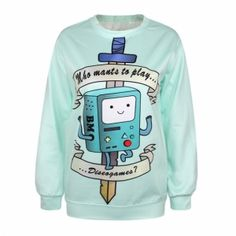Fashion Women Printed Space Pullovers Sweatshirts Sweaters Top