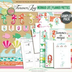 Digital Scrapbooking Kit | MERMAID LIFE PLANNER PRETTIES | ForeverJoy Designs
