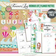 Digital Scrapbooking Kit | MERMAID LIFE PLANNER PRETTIES | ForeverJoy Designs