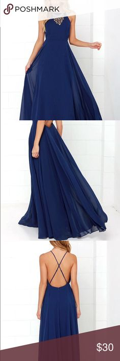"""Lulu's Mythical Kind of Love Navy Blue Maxi Size small in navy blue. Worn once for a wedding. Was not altered. I'm 5'6"""" and it required heels to not drag. This is currently being sold on lulu's website for $64. Lulu's Dresses Maxi"""