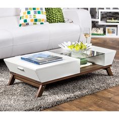Furniture of America Kress Glass Insert Coffee Table - 13133603 - Overstock - Great Deals on Furniture of America Coffee, Sofa & End Tables - Mobile Centre Table Living Room, Center Table, Living Area, Table Furniture, Living Room Furniture, Furniture Design, White Furniture, Coffee Table With Storage, Coffee Table Design