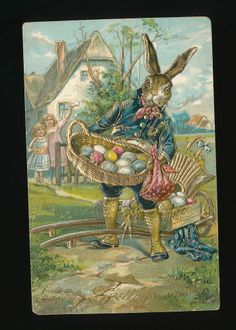 Easter Dressed Rabbit Spat pants Basket of Eggs children Emb.Postcard-kkk404