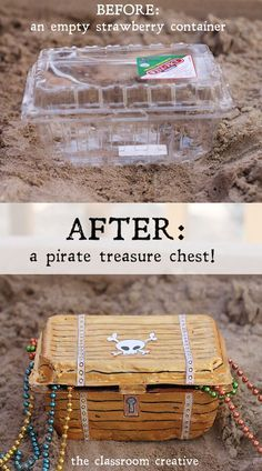 From strawberry container to pirate treasure chest! A fun craft tutorial from th… From strawberry container to pirate treasure chest! A fun craft tutorial from theclassroomcreat… Deco Pirate, Pirate Day, Pirate Birthday, Pirate Theme, Turtle Birthday, Turtle Party, Carnival Birthday, Girl Birthday, Carnival Parties