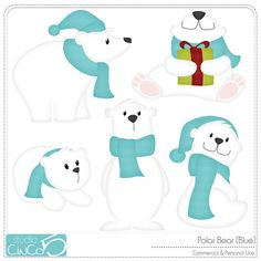 Polar Bear (Blue) - Digital Clip Art , Commercial Use Clipart, Scrapbook, Printable - Instant Download