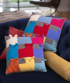 Fun! Kid's Pillows to Crochet from Red Heart Yarn – free patterns – Grandmother's Pattern Book