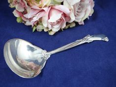 Vintage 1955 Wallace Sterling Silver Waltz of Spring Small Gravy Ladle - Lovely by SecondWindShop on Etsy