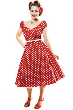 Collectif Clothing - 50s Dolores Doll dress Red White polka swing dress #topvintage