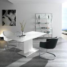 Mesa de comedor extensible - NGL0001. Muy bonita. Me quedo con la idea blanco+metal para la decoración de todo el salón.