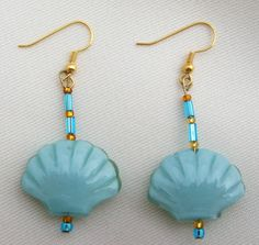 Shell Earrings/ Aqua Shell Earrings/ Aqua and by LittleGemsandMore, $10.00
