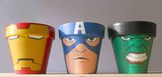 Avengers Iron Man Captain America Hulk painted flower pot set Marvel Superheroes