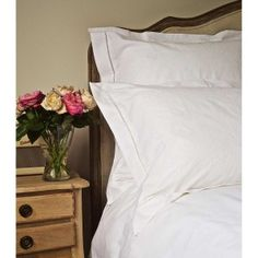 Embroidered Hem Stitch Bed linen in White
