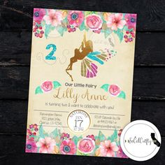 Butterfly Fairy / Shabby Chic / Glitter / Gold Leaf/ Teal & Pink Birthday Party Invitation by socalcrafty. Printed or Printable. $16+