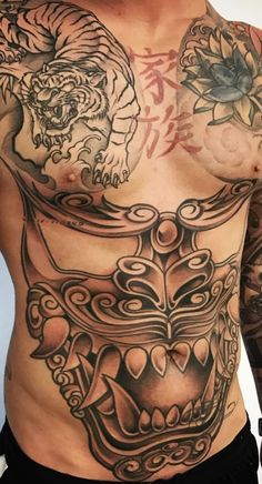 Digging the tiger. Digging the tiger. Belly Tattoos, Stomach Tattoos, Body Art Tattoos, Chest Tattoo Tiger, Tiger Tattoo, Nape Tattoo, Tattoo Henna, Weird Tattoos, Tattoos For Guys