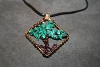 Tree of Life with Malachite Chips on a Gold Diamond Frame