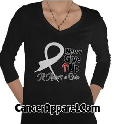 Never Give Up Lung Cancer Awareness shirts with an edgy ribbon by www.cancerapparelgifts.com
