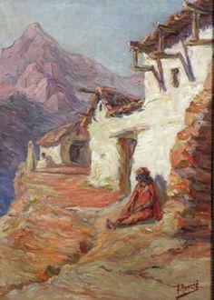 Peinture Algérie - Paysage de montagne - Edouard Herzig