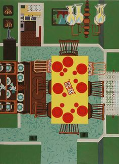 La artista con base en Chicago Ann Toebbe (1974) pinta espacios interiores y escenas domésticas que reconstruye de memoria. Toebbe da a sus obras  la sensación de vivir en un collage geométrico formando composiciones de una única dimensión.