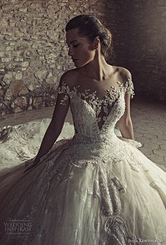 julia kontogruni 2017 bridal off the shoulders deep sweetheart neckline heavily embellished bodice princess glamorous ball gown wedding dress low back royal train (8) zv