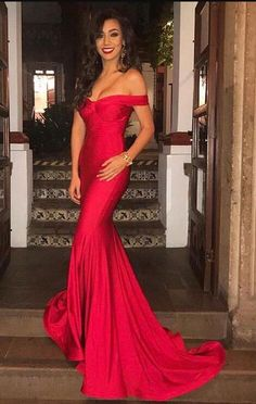 Off the Shoulder Prom Dress,Cheap Prom Dress,Gorgeous Prom Dress,Sexy Red Mermaid Long Prom Dress ,Sexy Evening Dress