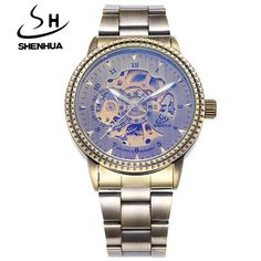 Top Luxury Brand Shenhua Watches Men Vintage Bronze Mechanical Watch Skeleton Automatic Self Wind Watch relogio masculino