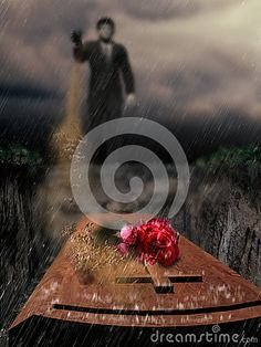 Close view on a coffin in the rain. A bouquet of roses on the wooden cross. Blurry in the background, a man throws a  handful  of soil  into the grave.