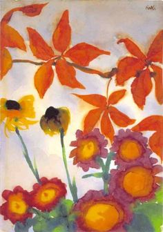 grape leaves and summer flowers - emil nolde