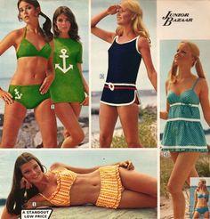 1970s teenage beach fashions from Sears...