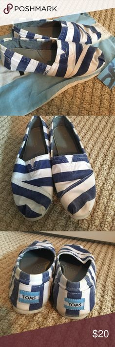 Toms Blue Stripped Classics Condition: used. Stains noted in pictures, probably can be removed by washing them. Toms Shoes Flats & Loafers
