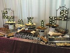 """Freestanding wooden """"Love is Sweet"""" wedding signs are a fun and beautiful addition to your wedding dessert table decor. Fun to use on your candy bar or candy buffet table, your cake table display, and"""