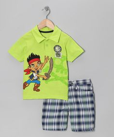 Take a look at this Neon Green Jake Polo & Plaid Shorts - Infant, Toddler & Boys by Jake and the Never Land Pirates on @zulily today!