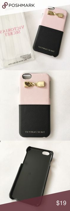 Victoria's Secret IPhone 6/6s phone case Victoria's Secret IPhone 6/6s hard case. Color block, pink and black with a gold bow detailing at the top. This case has never been used just taken out of the packaging for photo purposes. Victoria's Secret Accessories Phone Cases