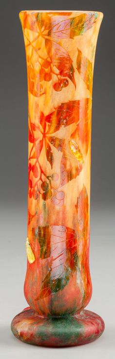 DAUM VITRIFIED AND ETCHED GLASS VASE WITH APPLIED BEETLES, Nancy,France, circa 1906.
