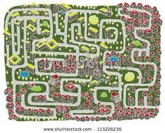 Urban Landscape Maze Game ... Find the right road to down town!