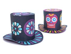 Mini top hats for Day of the Dead - printable by Happythought! happythought.co.uk