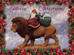 Original-Hand-Carved-Santa-riding-Lion-with-Lamb-in-sack-by-Susan-M-Smith