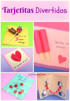 Estas son tarjetas divertidas o chistosas para regalar a un amigo o mostrar tu amor en el día del cariño o día de san Valentín. También pueden usarse en otras ocasiones como día de la madre o día del padre. Todas son muy fáciles de hacer e inlcuyen materiales que tenemos en casa.