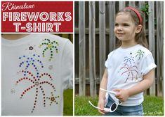 Fun Rhinestone Fireworks T-shirt Craft for Summer!