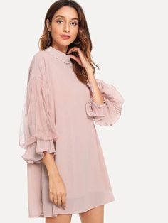 To find out about the Pearl Beaded Sheer Mesh Panel Sleeve Dress at SHEIN, part of our latest Dresses ready to shop online today! Elegant Dresses For Women, Dresses For Teens, Nice Dresses, Dresses With Sleeves, Plus Size Fall Outfit, Hot Dress, Casual Fall Outfits, Fashion Outfits, Women's Fashion