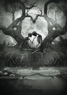 scary love tree white forever moon black edit kiss dark heart skull together skeleton ligafrankorn