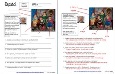 Spanish Family & Botero Worksheet by Sue Summers - Combine grammar and family vocabulary with culture! This activity includes 7 questions pertaining to a portrait of a bullfighting family painted by Colombian artist Fernando Botero. Spanish Teacher, Spanish Classroom, Educational Activities, Classroom Activities, Worksheets For Kids, Spanish Worksheets, Middle School Spanish, Family Painting, Family Units