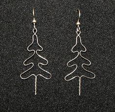 Nickel silver Christmas Tree earrings with sterling earwires.