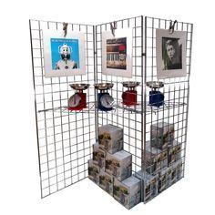 3 Way Chrome Grid Panel Display Stall Display, Display Ideas, Painting On Photographs, Grid Panel, Acrylic Display, Slat Wall, Architectural Salvage, Yard Sale, Shelving